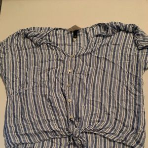 blue and white striped button up blouse